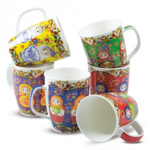 "Coffret de six tasses ""Matriochkas"", 6х0,35l."